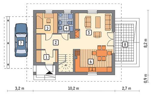 Rzut parteru: wariant 4 POW. 59,9 m²