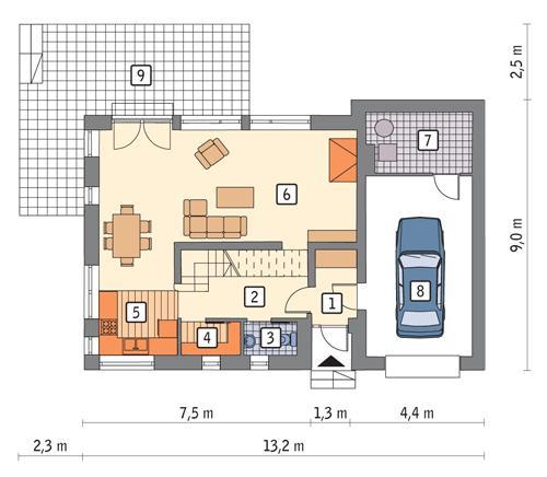 Rzut parteru POW. 86,1 m²