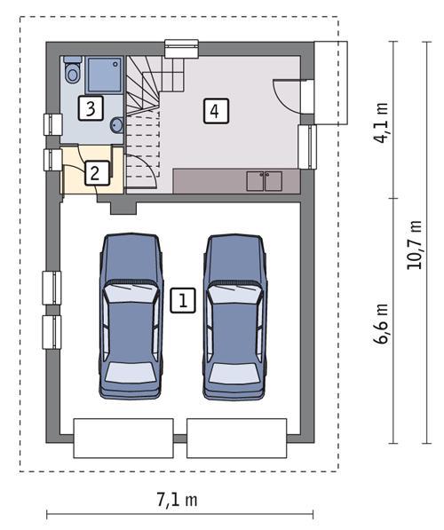 Rzut parteru POW. 59,2 m²