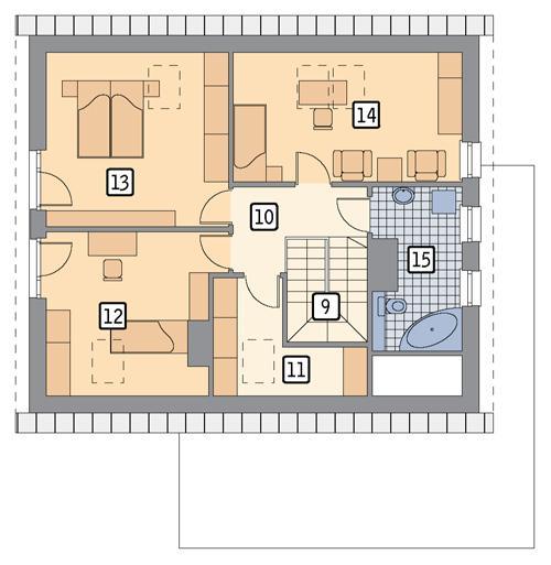 Rzut poddasza POW. 80,5 m²