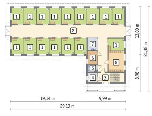 Rzut parteru POW. 366,6 m²