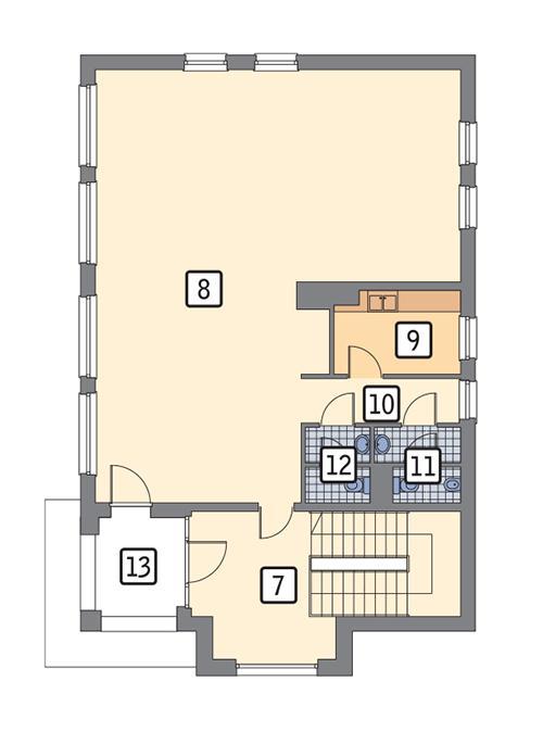 Rzut piętra: piętro I / II POW. 150,9 m²
