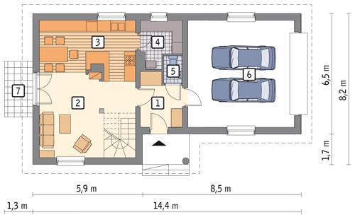 Rzut parteru: wariant POW. 82,8 m²